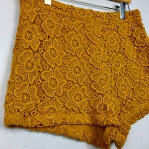Forever 21 Mustard Yellow High-Waisted Lace Shorts